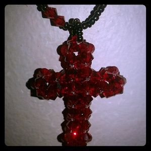 Vintage Handcrafted Red Beaded CROSS Necklace